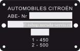 Typový štítek karoserie 2CV6